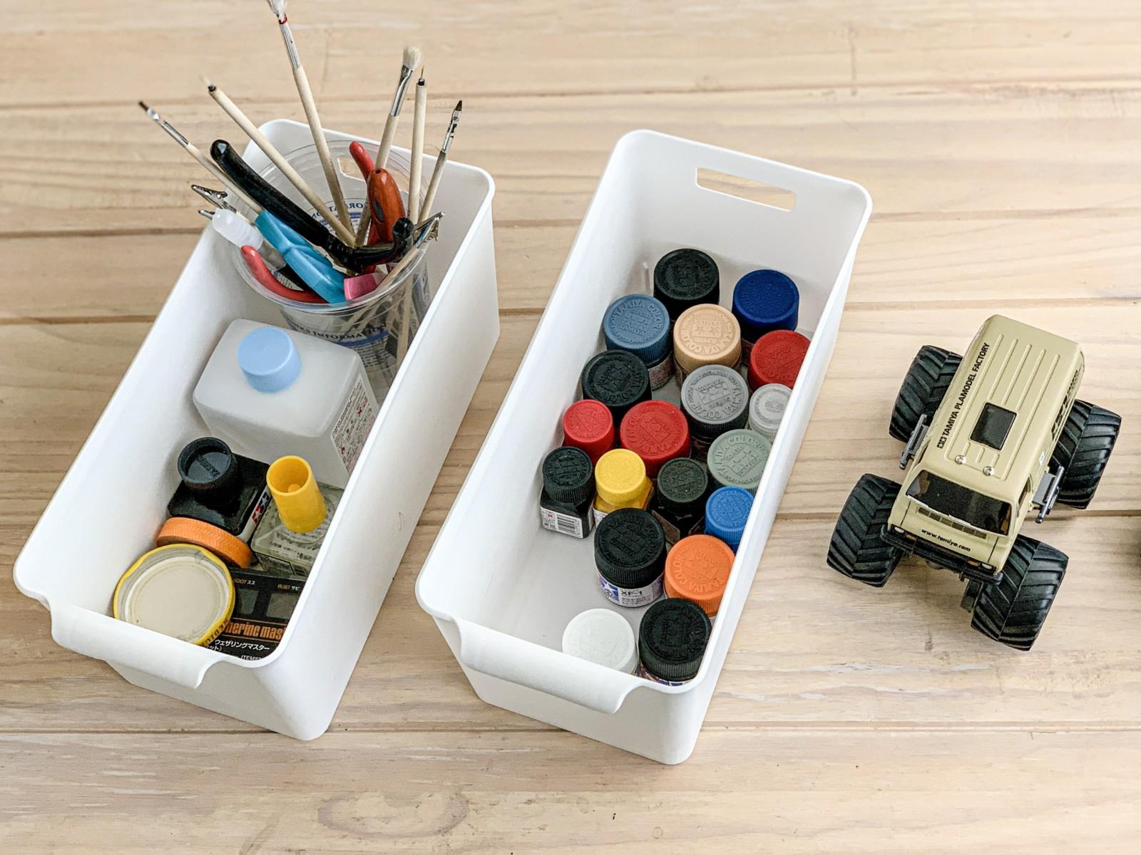 タミヤの塗料を100均ボックスに収納