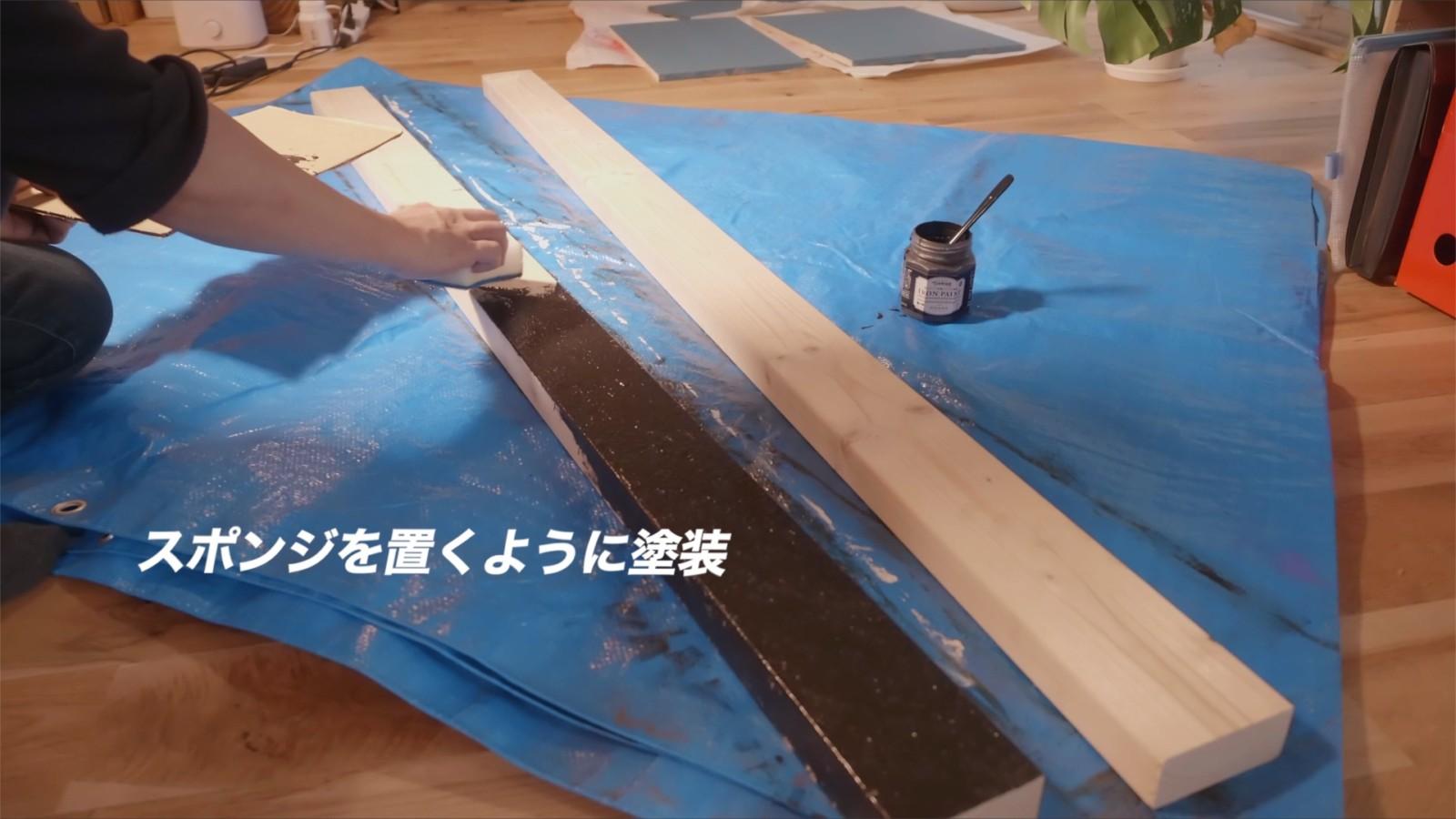 アイアンペイントで柱を塗装