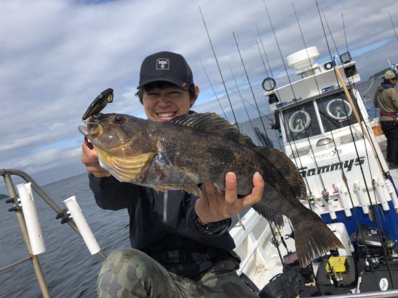 ボートロックで甲斐さんが釣った量良型アイナメ
