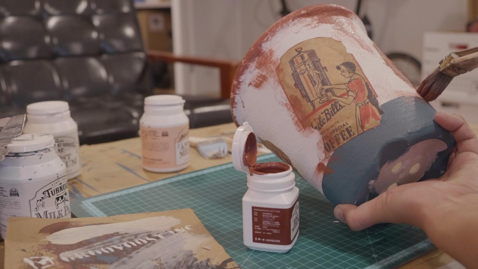 ターナーミルクペイントで植木鉢をビンテージ加工する